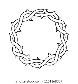 Crown of thorns, easter religious symbol of Christianity vector illustration.