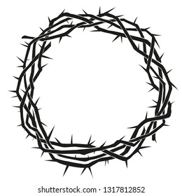 crown of thorns, easter religious symbol of Christianity hand drawn vector illustration sketch logo