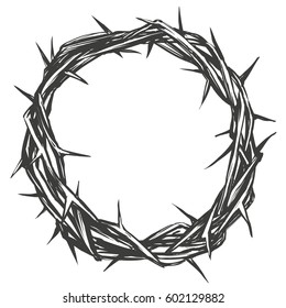 crown of thorns, easter, religious symbol of Christianity hand drawn vector illustration sketch logo