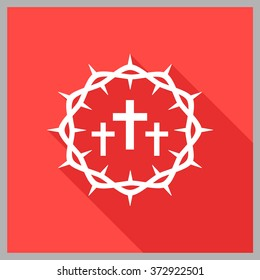 Crown of thorns. Good Friday (Christ Frida). Vector flat illustration.