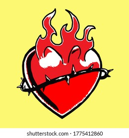 Crown of Thorns and Heart, icon, logo or tattoo, vector, eps 10