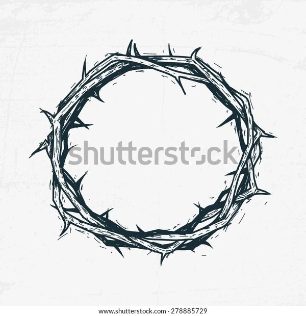 Crown of thorns Jesus Christ. Sketch, handmade