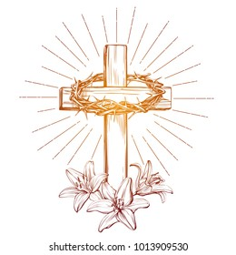 crown of thorns, wooden cross and floral blooming lilies, Easter . symbol of Christianity hand drawn vector illustration sketch