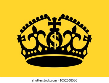 Crown with US dollar symbol as metaphor of oligarchy and plutocracy. Society is governed and reigned by wealthy and rich person. Connection between money and power. Vector illustration.