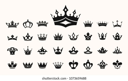 Crown vector illustration symbols, with ornaments, awards, prince, queen, royal,  luxury jewelry, imperator symbols, icons set, collection