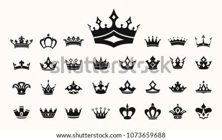 Crown Vector Illustration Symbols Ornaments Awards Stock Vector