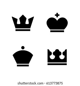 Crown vector monochrome icons. Set of solid king queen black icons.