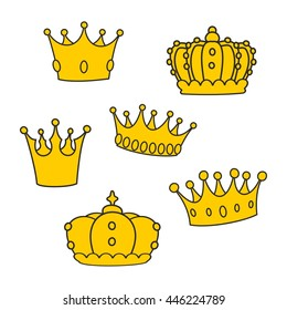 Crown vector set isolated on white background
