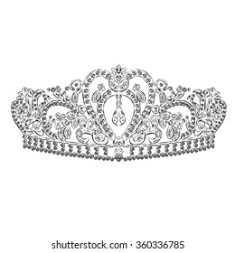 Crown vector.Painted diadem. A princess. Queen.  Vector illustration for a greeting card, poster, or print on clothes.