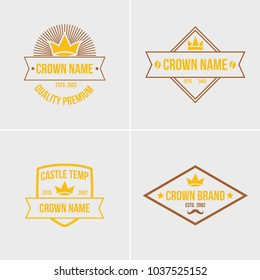 Crown vintage logotype set concept vector illustration emblem abstract