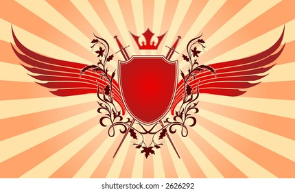 Crown, wing, armour and weapon