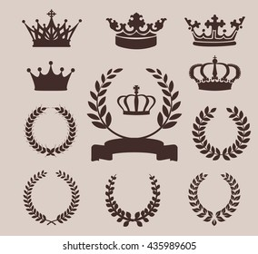 Crown and wreaths icons. Vector illustration for Your Design