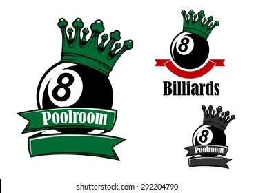 Crowned black billiards or pool balls sporting emblems with green and red ribbon banners, headers Poolroom and Billiards