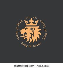 Crowned lion head logo template design. Vector illustration.