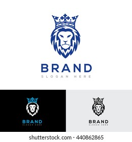 Crowned lion vector logo template