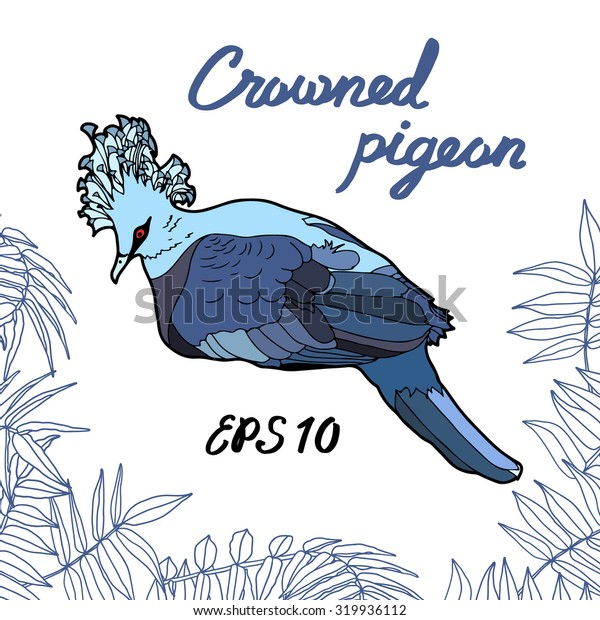 Crowned pigeons with palm leaves. Vector illustration