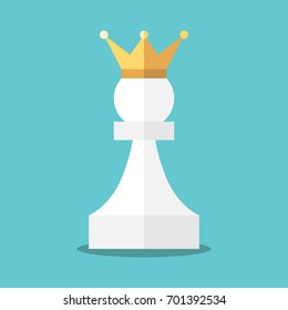 Crowned white pawn on turquoise blue background. Power, achievement, opportunity and victory concept. Flat design. EPS 8 vector illustration, no transparency, no gradients