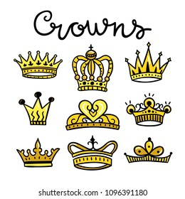Crowns and diadems cute hand drawn set. Treasures of kings and queens beautiful royal collection