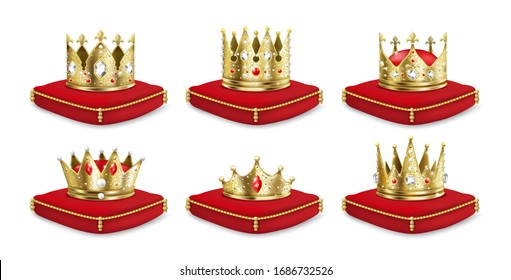 Crowns on pillow. Realistic 3D golden king and queen headdress collection, luxury medieval monarch set. Vector illustration isolated royal crown of gold on red pillow for emperor heir
