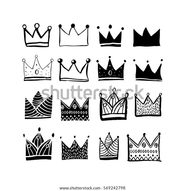 Crowns Set. Cute hand draw sketch. Cartoon style silhouette &  outline. For production of the pattern, children's clothing, greeting card, poster, wallpaper.