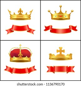 Crowns symbol of regal power and red banners set. Corona with diamonds and gemstones. Gold coronet diadem with golden cross on top isolated  vector