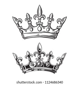 Crowns. Vector illustration isolated on white background. vector illustration
