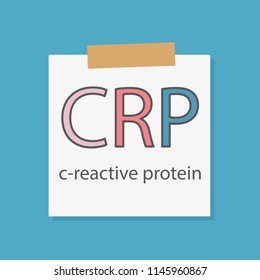 CRP (C-reactive protein) written in a notebook paper- vector illustration