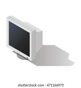 CRT Computer Monitor vector isometric