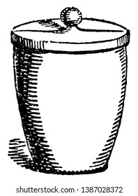 A crucible is a cup-shaped piece of laboratory object laboratory equipment used to contain chemical compounds when heating them to very high temperatures, vintage line drawing or engraving