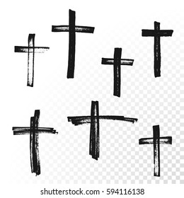 Crucifix cross hand drawn paint brush vector icon. Christianity orthodox or catholic religion isolated symbols set for Easter, funeral or grave memorial