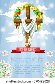 Crucifix or Easter cross with Christ shroud. He is risen heaven sky paschal poster template with egg and flower wreath and red ribbon. April Resurrection Sunday religious holiday vector greeting card.