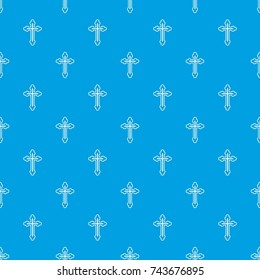 Crucifix pattern repeat seamless in blue color for any design. Vector geometric illustration