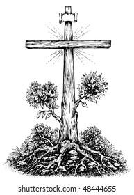 Crucifix Surrealism Illustration Black & White