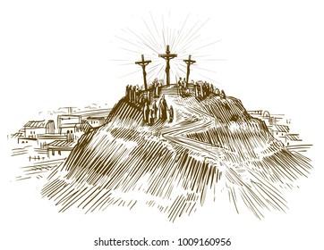 Crucifixion Jesus Christ, Son of God. Sketch vector illustration