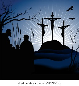 Crucifixion. Silhouettes of the three crosses and praying man. Vector illustration scale to any size. All elements and textures are individual objects.