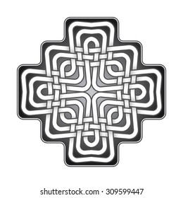 Cruciform logo template in Celtic knots style. Stylish tattoo symbol.