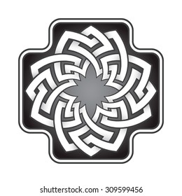 Cruciform logo template in Celtic knots style. Stylish tattoo symbol. Silver ornament for jewelry design.