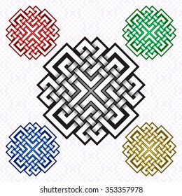 Cruciform logo template in Celtic knots style. Stylish tattoo symbol. Silver ornament for jewelry design and samples of other colors.