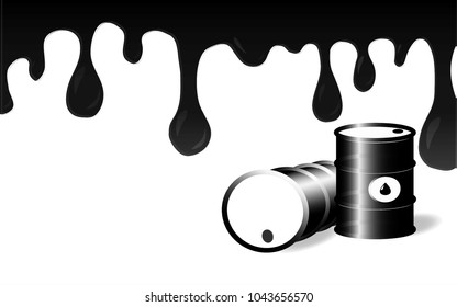 Crude oil dripping on the white wall background with oil drum, vector illustration.