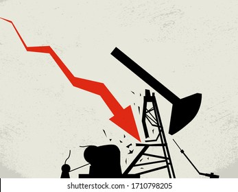 Crude oil market crash in America vector concept. Job lossses, layoff and bankruptcy in industry. Market sell-off, prices dive, plunge.
