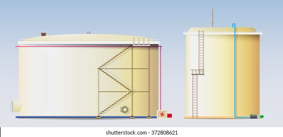 Crude oil storage tanks and a water reservoir / Two vertical steel tanks of large volume (Tanks for oil, gasoline, benzine, fuel and water)