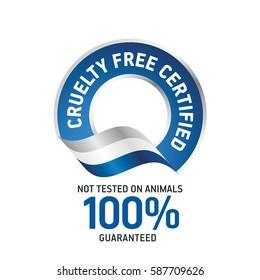 Cruelty Free Certified blue ribbon label logo icon
