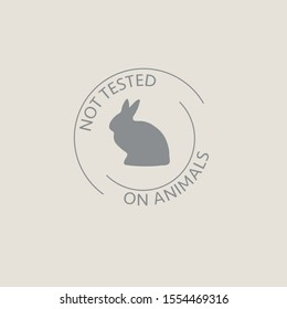 Cruelty free icon design. No testing sign. Product not tested on animals symbol. Can be used as sticker, logo, stamp, icon. Vector design with rabbit.