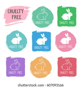 Cruelty free icons with bunny. No animals testing signs. Pink, blue, green, red, square, round vector illustrations