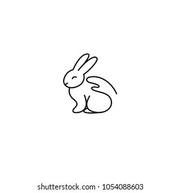 Cruelty free linear icon rabbit and hand
