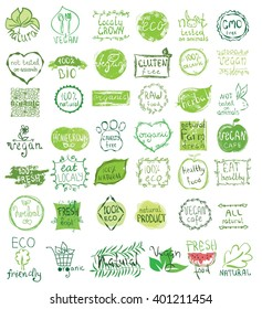 Cruelty free, not tested on animals, eat local, healthy food, eco, organic bio, gluten free, vegetarian, vegan labels. Blurred rural background. Vector restaurant menu logo, badges templates