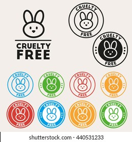 Cruelty free sign icon. Not tested symbol. Round colourful