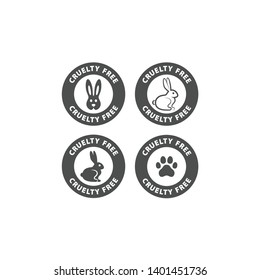 Cruelty free vector label stamp. Cruelty free circle badge with bunny rabbit and dog paw print for cosmetics packaging.