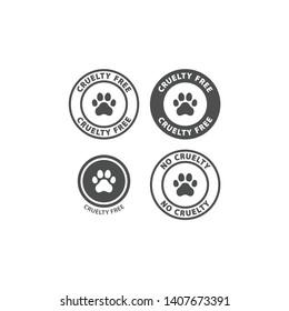 Cruelty free vector stamp with dog paw print. Cruelty free circle sticker or label for packaging.