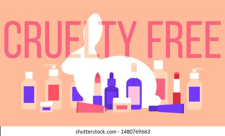 Cruelty free. White rabbit and a set of different cosmetics: lotion, lipstick, tonic, cream, serum, skin milk.The concept of care for animals, nature and cruelty free.